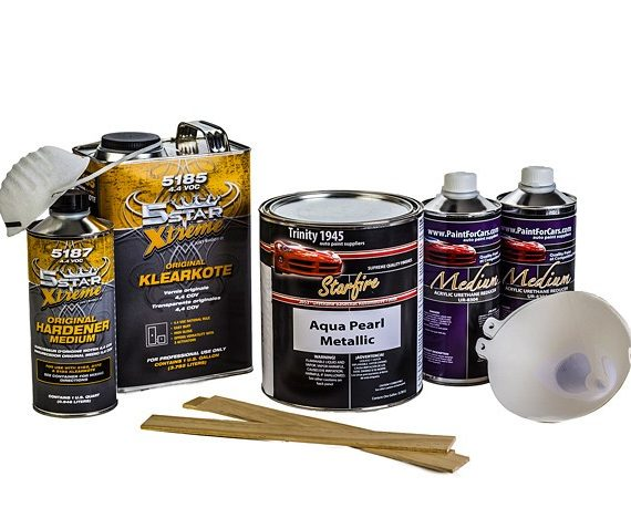 Aqua Pearl Metallic Urethane Basecoat Clear Coat Auto Paint Kit