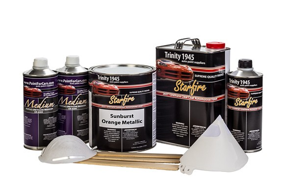 Sunburst Orange Metallic Urethane Basecoat Clear Coat Auto Paint Kit