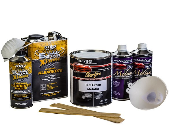 Teal Green Metallic Urethane Basecoat Clear Coat Auto Paint Kit Featuring 5 Star Clear Coat