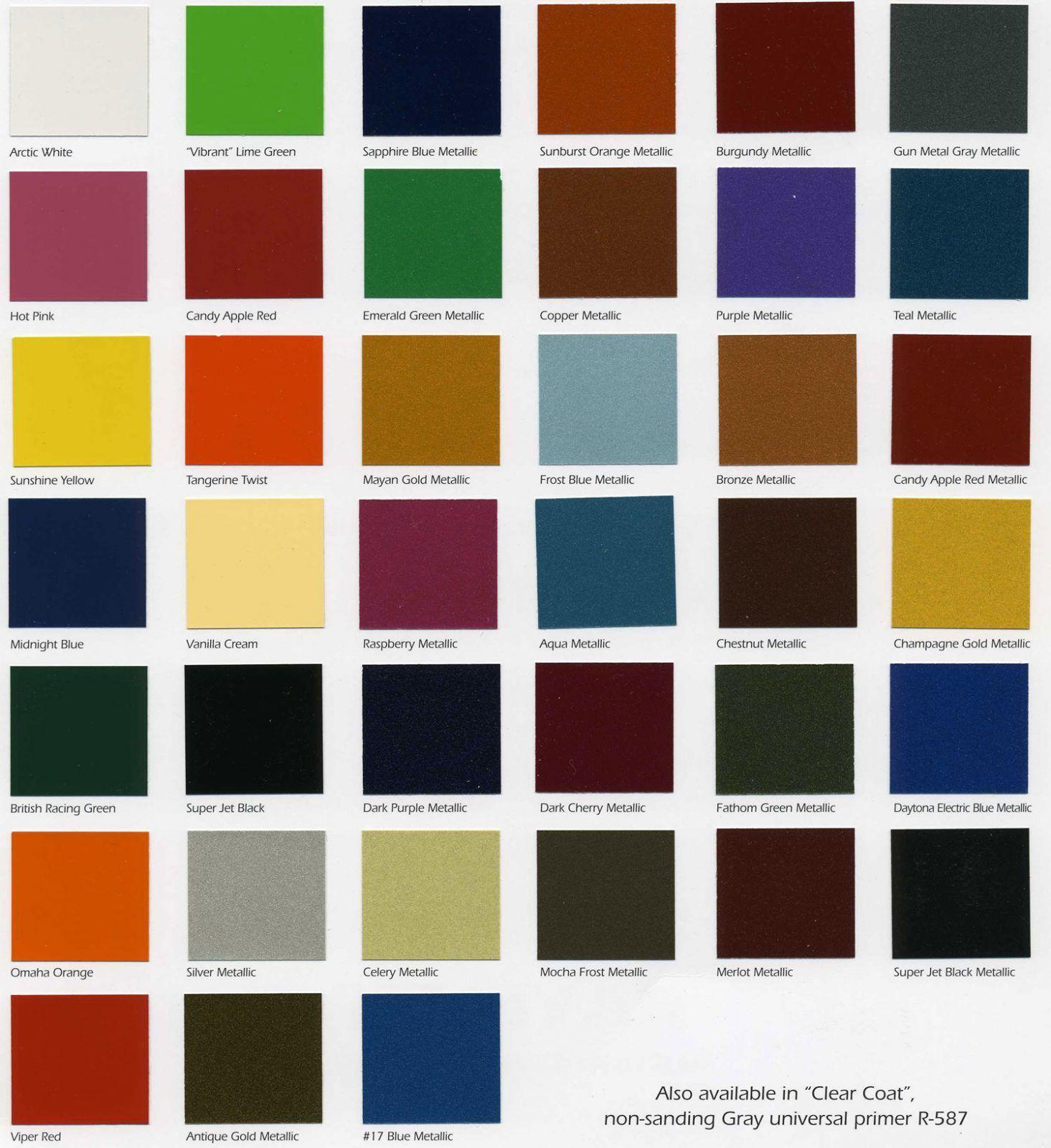 Car Paint Colors >> Starfire Automotive Finishes Color Chip Chart Paintforcars Com